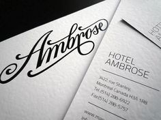Onestep Creative - The Blog of Josh McDonald » Ambrose Hotel by Miklos Kiss #ambrose #script #branding #identity #hotel