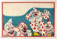 1960s clown advertising primary colors