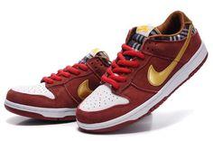 Nike Dunk Sb Low 2012 New Cut Mens Tartan Dark Red Gold