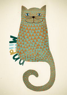 MIchelle Carlslund Illustration: MIIAUU #yellow #cat #danish #poster #kitty #cute #children #kids