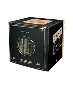 """Promotional cube for the Kraftwerk Radio-Activity album, 1975. Distributed to record stores by the American record label Capitol. Inspired by the """"Volksempfänger"""" radio. Exhibition 2015. Röhsska Museum / Photo: Mikael Lammgård."""