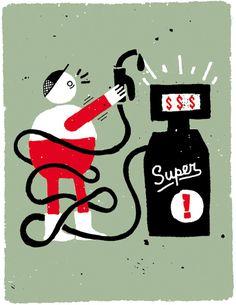 Ben Tardif illustration / Colagene.com #naïve #illustration #ink #gas #vintage