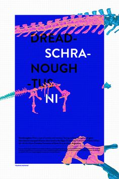Dreadnoughtus Schrani #print #grid #blue #poster #dinosaur #scan #3d #typography