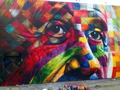 Street Art Portrait Of Einstein By Eduardo Kobra In Los Angeles, USA #art #street #painting #mural