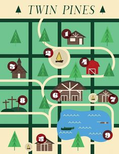 Twin Pines Map - Noah Mooney Design #tree #camp #map