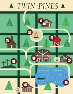 Twin Pines Map - Noah Mooney Design #tree #camp #map