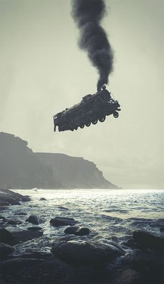 Surreal Digital Illustrations by Tebe Interesno #train #ocean #white #flight #photo #steam #black #floating #sea #manipulation #and #beach #collage #coast