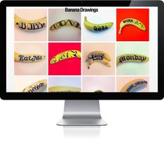 Banana Drawings #typography #website #yellow #hand generated