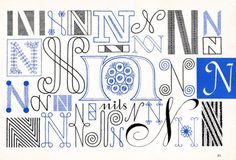 N, Embroidery Letterforms, Present and Correct