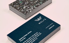 Wolfe Business Cards by Equal Parts Studio #branding #businesscard #printdesign #terrazzo
