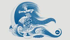 / DANCING ON WAVE - QUIKSILVER - roovie | Design -- Illustration #illustration #surfing #dance #bali #balinese
