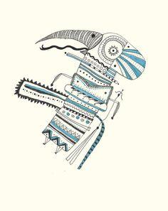 """""""Gherple""""Jorge Luis Moranés © 2013 #mayan #bizarre #illustration #inca #aztec #blue"""