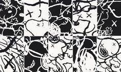 "KAWS Introduces ""Man's Best Friend"" at Pace Prints snoopy peanuts"