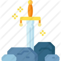 See more icon inspiration related to cultures, excalibur, fairy tale, folklore, legend, miscellaneous, sword, fantasy and weapons on Flaticon.