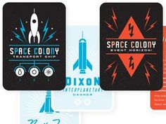 Dribbble - Space Colony: Card Layout Ideas by Spencer Charles #cards #rocket #playing #826 #colony #space