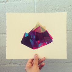 Original screenprinted monoprint by Fawna Xiao #screenprint #monoprint #print #mountains #geometry #landscape #neon