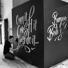 Nike Chalk Murals on Behance #lettering #chalk #ligatures #nike #type #bw #typography