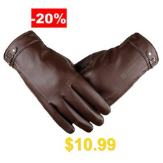Touch #Screen #Men's #Winter #Leather #Gloves #Warm #Cashmere #and #Thick #Fashion #Outdoor #Cotton #- #BROWN