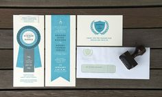 My Wedding : Tom Froese Design & Illustration #stamp #ivory #invitation #crest #envelope #collateral #blue #wedding #grey