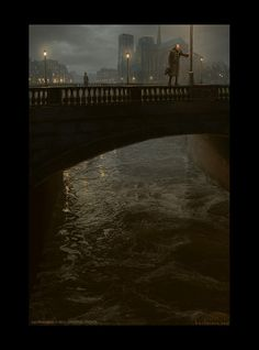 Les Miserables Concept Art by Karl Simon Gustafsson #darkness #night #illustration #concept #painting #art #bridge #river