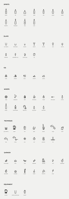 Mixionary | MAUD #iconset #iconography #icon #monoline #alcohol #illustration #drinks #cocktail #cocktails