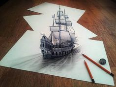 3D Ship Drawn on Three Flat Sheets of Paper by Ramon Bruin #paper #pencil #drawing