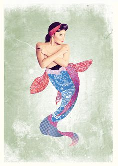 Ladies Collage - Old School Mermaid #digital #design #graphic #collage