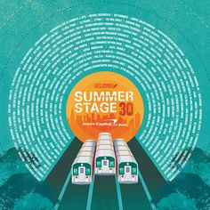 SummerStage30 Anniversary Lineup Poster #music #line #trains #typography #radial #movement #sun #summer #entertainment #poster #festival #gr