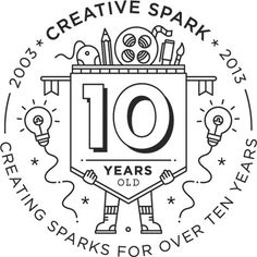 'Creating Sparks for over ten years' Birthday stamp icon design by Robyn Makinson. #white #icon #black #illustration #and