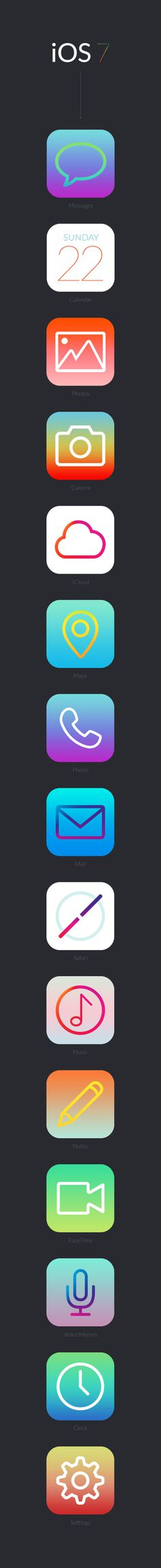 iOS 7 #design #art #minimal #simple #iphone #vector #icon #light #gradient #ios #mobile #apple