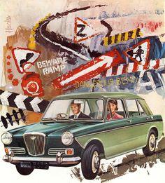 mixed media, illustration, vintage car ad