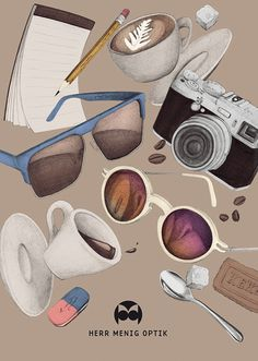 Ad illustration for Herr Menig Optik, an optician in Nürnberg Germany - www.philippzm.com #glasses #optician #sunglasses #illustration #add #coffee