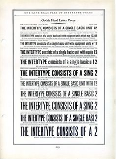 This is a specimen of gothic typefaces by Intertype. #type #specimen #typography