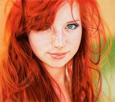 Amazing Portrait Drawn with Ballpoint Pens by Samuel Silva #redhead #hyperrealism #portrait #pen #drawing