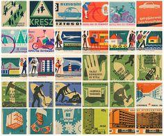 Old matchbox labels. #matchbox #labels #retro #illustrations #vintage