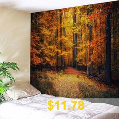 Wall #Hanging #Art #Maple #Forest #Path #Print #Tapestry #- #GOLD #BROWN