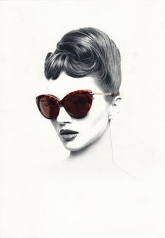 Women in Shades :: Exquisite pencil drawings by Nabil Nezzar. #shade #woman #girl #sunglasses #hair #illustration #portrait #face #pencil #sketch #beauty