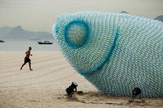 Giant Fish Sculptures Made from Discarded Plastic Bottles in Rio | Colossal #fish #upcycle #bottles #art #plastic