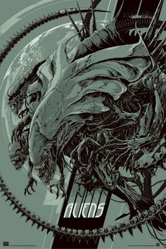 Aliens poster via this isn't happiness™ #design #fi #sci #space #james #aliens #poster #film #monster #cameron