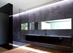 Party House Project by Pitsou Kedem Architects stylish black gray base bathroom