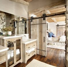 Rustic Bathroom Vanities Concept Adding Cheerfulness to Rustic Bathroom : Rustic Bathroom Vanities And Sliding Barn Door In Rustic Bathroom #wood #reclaimed #bathroom