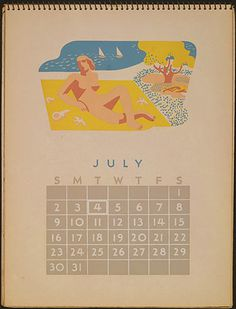Posters from the WPA: Federal Art Project Calendar July #illustration