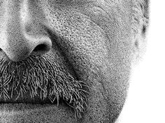 A Portrait Drawn by Hand with 2.1 Million Ink Dots to Aid Amnesiac Benjaman Kyle stippling portraits pointillism illustration drawing #ink #b&w #dots #portrait #art #realistic