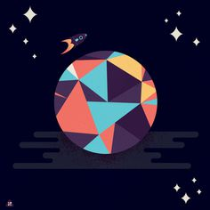 Star Planet, by Micah Berger #inspiration #creative #design #graphic #black #illustration #star #planet