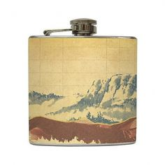 Mountain Landscape Whiskey Flask Traveler Camping by LiquidCourage #flask #landscape #alchohol #mountains #package