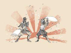 Woot® : One Day, One Deal™ #print #design #shirt #screen #illustration #pillow #art #fight #samurai #japan