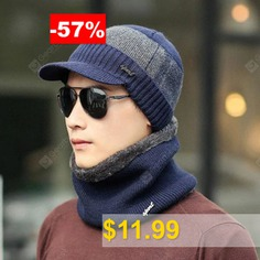 Men #Hat #Suit #Winter #Youth #Warm #Wool #Cotton #- #BLUE