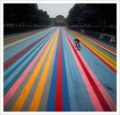 FFFFOUND! | Gene Davis – Philadelphia Street Painting, 1972 / Aqua-Velvet #road