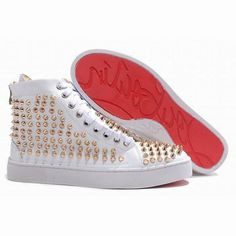White Christian Louboutin Louis Gold Spikes Men Red Sole Shoes