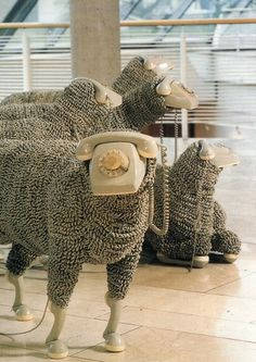 Jean Luc Cornec - telephone sheep object in the Frankfurt Museum of Communications | Flickr - Photo Sharing! #sheep #sculpture #phone #telephone